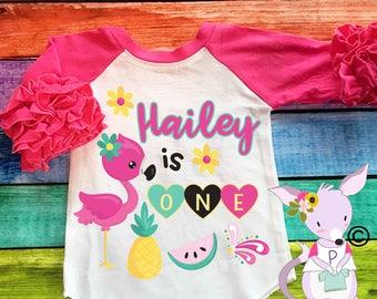 Flamingo Girls Birthday Shirt Beach Birthday Shirt Summer Birthday Shirt Flamingo Birthday Custom Birthday shirt with name and age ruffle