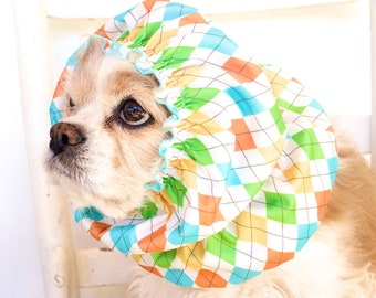Argyle Waterproof Dog Snood - Stay-Put 3 Rows Elastic Thread - Rain Hat - Cavalier King Charles or Cocker Snood