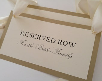 Reserved Wedding Pew Signs for Family Seating During Your Wedding Ceremony