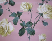 Vintage Wallpaper c1930-40 Yellow ROSES on pink background Mixed Media, Repurpose, SVF, Romantic Home, Valentine, Wall Decor, Shabby Cottage