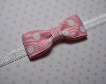 Pink & White Polka Dot Bow Headband/ Pink Bow Headband/ Pink Baby Headband/ Baby Hair Accessories/ Baby Girls Hair Accessories/ Polka Dots