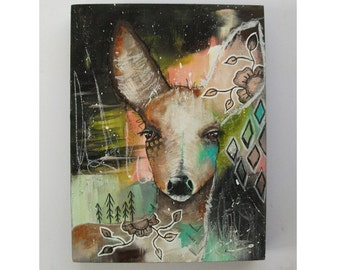 folk art Original deer painting mixed media art painting on wood canvas 8x6 inches - As time stood still