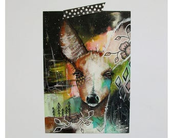Deer doe glossy oversized postcard poster print painting art print A5 size - As time stood still