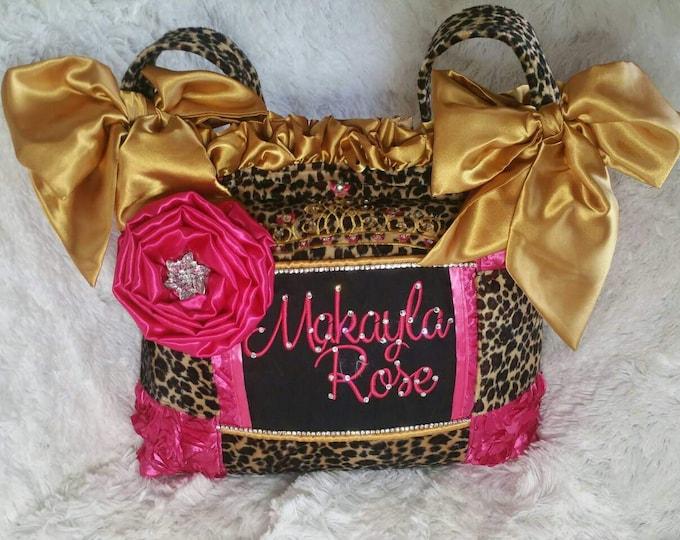 Featured listing image: Gypsy Style Diaper bag Ruffles Gold satin bows black leopard fur Fuchsia 3D Rosette Tiara crown bling fancy frilly bold beautiful custom