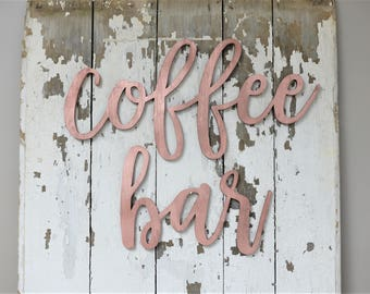 Coffee Bar Words Wood Cut Wall Art Sign Decor