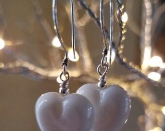 Valentine's Earrings White Lampwork Glass - Handmade USA ~ Lampwork Glass