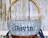 Personalized Easter Basket Liner - Grey Arrow