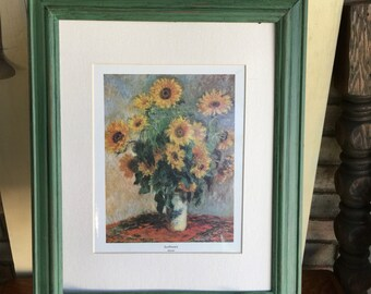 Vintage Kudzu Green Shabby Chic Framed Sunflower Picture