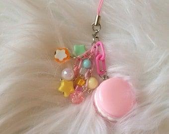 Kawaii Fairy Kei Pastel Pink Macaron phone charm RTS
