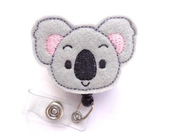 Badge Holder Retractable - Koala Cutie - grey felt koala bear - nurse badge reel medical badge reel zoo teacher