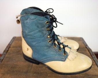 Laredo Two Tone Turquoise Boot with REMOVABLE Fringe