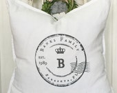 Personalized | Family Name | Distressed Label | Pillow Cover | Farmhouse Decor | Cottage Decor | Cottage Pillows