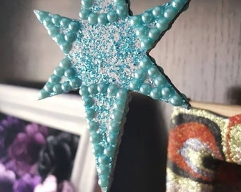Silver and Blue Glitter Star Christmas Decoration with aqua pearls, Wooden