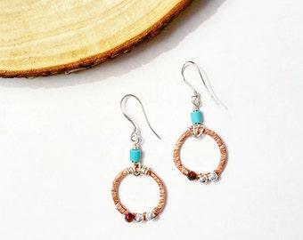 Copper Hoop Sterling Silver Earrings