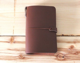 LEATHER JOURNAL COVER: Midori - Moleskine - Field Notes - A5 A6 - All sizes available - Free Personalization - Milk Chocolate