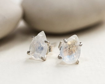 Rainbow Moonstone Claw Stud Earrings - Gold Stud Earrings - Gemstone Stud Earrings - Alternative Bridal