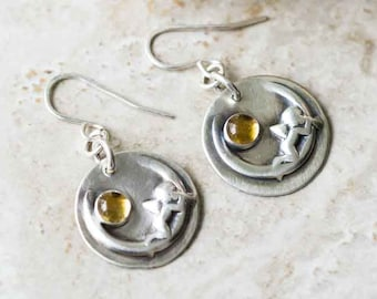 Cherub on the Moon Earrings with Yellow Citrine in Sterling Silver