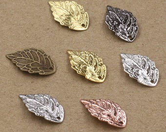 Wholesale 200 Brass Filigree Leaf Component 10x18mm Raw Brass/ Antique Bronze/ Silver/ Gold/ Rose Gold/ White Gold/ Gun-Metal Plated- Z7243