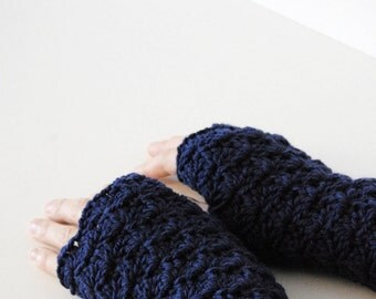 Dark purple fingerless gloves, crocheted, handmade, ready to ship