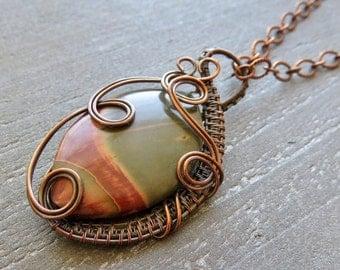 Cherry Creek Jasper Pendant - Wire Wrapped Jewelry Pendant - Copper Pendant - Christmas Gift Idea - Holiday Present - Stocking Stuffer