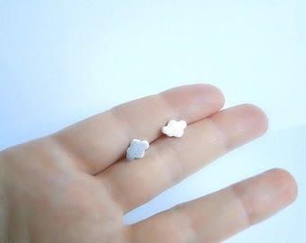 Silver cloud earrings, sterling silver post studs