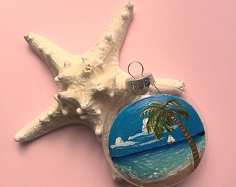 Tropical beach Christmas ornament  sail boat and palm tree