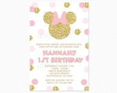 Minnie Mouse Birthday Party Invitation, Pink, Gold, Glitter Minnie Mouse, Polka Dots, Any Age, 1st Birthday, Printable or Printed