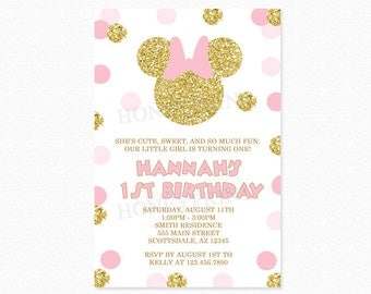 Pink and Gold Glitter Minnie Mouse Birthday Party Invitation, Minnie Mouse Invitation, Polka Dots, 1st Birthday, Girl, Printable or Printed