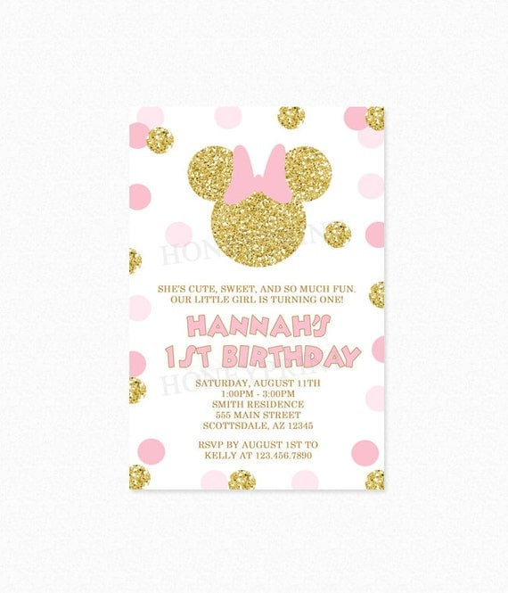 Minnie mouse birthday party invitation pink and gold glitter polka il570xn filmwisefo Choice Image