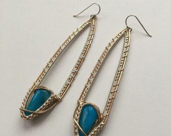 Brass & Silver Druid Earring Turquoise