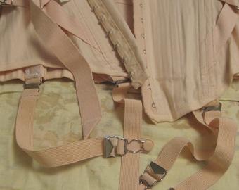 Vintage 1950s Pale Pink Corset Boned Waist Cincher Trainer Girdle Open Bottom Adjustable with 4 Removable Garters Size 32 Large