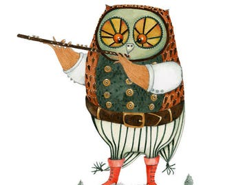 Owl playing the Flute Original watercolour painting 7.5x10 inches