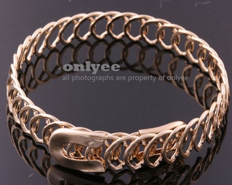 2PCS-10mm Free Size Bright Gold Plated Brass Wire Bangles,Chain Bracelet of Deco Bracelet (E372G)