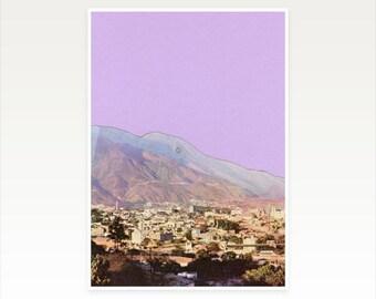 Mountain Art, Summer, Modern Wall Art, Purple Decor - Lilac Skies
