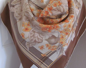 "Fittorio Scarf // Beautiful Beige Brown Floral Soft Silk Scarf  // 34"" Inch 88cm Square // Best of the Best"