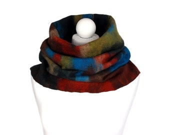 Infinity scarf, multicolor, winter circle scarf