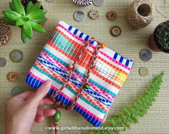 Passport Wallet Colorful Mexican Travel Purse - Boho Geometric Stripe