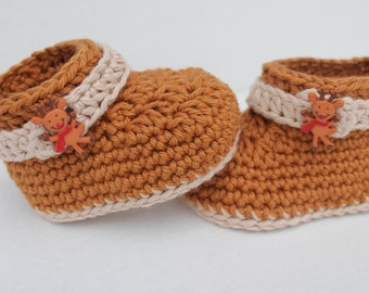 Chrochet Christmas Baby Booties. Reindeer Baby Booties. Chrochet Baby Shoes. Brown Baby Booties. Chrochet Baby Socks. Chrochet Baby Boots