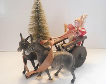 Antique Composition Santa in Wooden Cart with Porcelain Mules