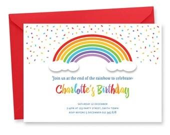 rainbow party invite | etsy, Party invitations