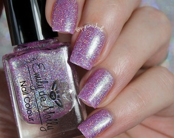 "Nail polish - ""Best Dressed Guest"" pink/purple jelly with shimmer and holo glitter"