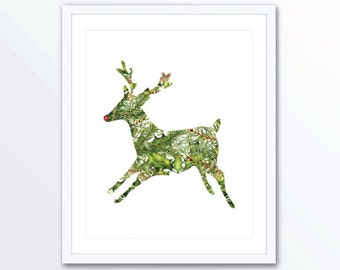 Rudolph Art Print - Modern Reindeer Christmas Wall Art - Reindeer Art Print - Green White and Red Christmas Decor - Aldari Art