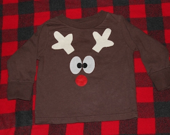 READY TO SHIP 2T reindeer long sleeve shirt with tail on the back