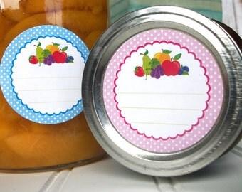 Polka Dot Fruit canning jar labels, round mason jar labels, jam jelly & preserves jar labels, cottage chic fruit preservation stickers