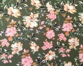 Olive Pink Cream and Black Floral Brushed Poly Spandex Knit, 1 Yard