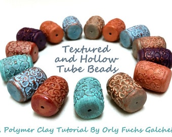 Polymer Clay Tutorial, How To Make Textured And Hollow Tube Beads, arcilla polimerica, d'argile de polymère, Clay Beads Turorial