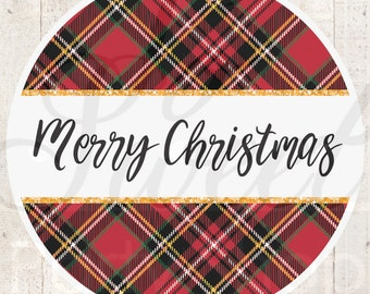 Plaid Merry Christmas Stickers, Gift Tags, Christmas Labels, Happy Holidays Stickers, Envelope Seals, Christmas Seals, Packaging - Set of 24