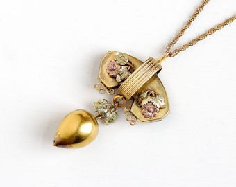 Antique Victorian Era Rose , Yellow & Green Gold Filled Flower Pendant Necklace - Vintage 1880s Floral Statement Brooch Pin Drop Jewelry