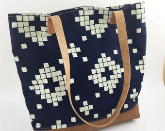 Reserved Listing: Canvas Bag/Canvas Leather Tote/Leather Straps/Southwest Pattern/Boho Bag/Canvas