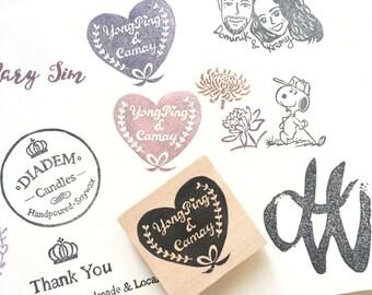 Couple name wedding stamp stamp / laurels/ hand carved/ handmade/ heart/ ribbon/ wedding essentials/ wedding stamp/ love/ wedding stationery